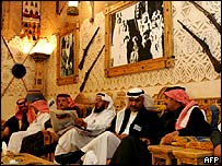 Saudi men sit in a traditional salon at the resort and farm of Prince Abdul Aziz bin Fahd in Al-Azeriyah on the outskirts of Riyadh.