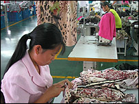 Chinese textile factory workers