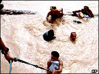 People being rescued in February 2005