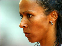 Kelly Holmes concentrates before the start of a race