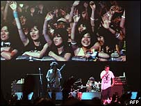 Fans of Japanese rock group Rize