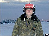 Major Valery Troyanov at airbase before his crash