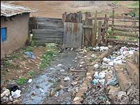 Sewage and rubbish in Kibera