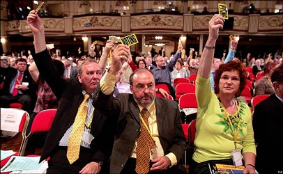 Delegates inflict a defeat on the party leadership over proposals to part privatize Royal Mail