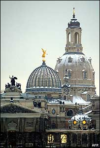 Dresden's rebuilt Frauenkirche (in the background)
