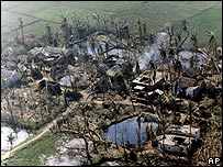 Flood damage after a cyclone in Orissa in 1999