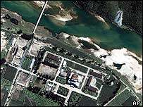 Satellite image of North Korea's Yongbyon Nuclear Centre - archive picture