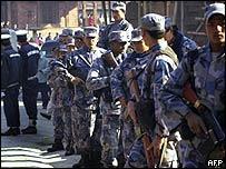 Armed police in Kathmandu