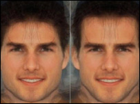 Image of Tom Cruise, altered to look more feminine on the left and masculine on the right