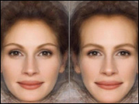 Image of Julia Roberts, altered to look more feminine on the left and more masculine on the right