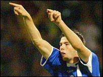 Joe Ledley celebrates scoring Cardiff's equaliser