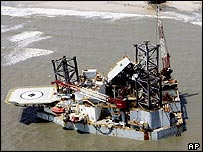Oil platform blown ashore by Hurricane Katrina