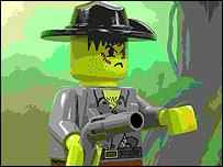Mu�eco de Lego, malencarado y armado hasta los dientes.
