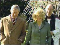 Charles and Camilla outside church