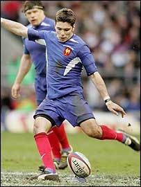 France scrum-half Dimitri Yachvili slots one of six penalties against England