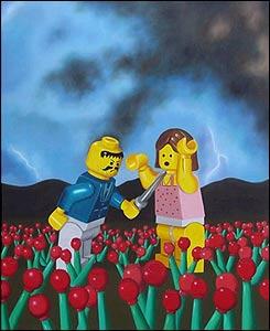 Colombia Land. Asesinato en el cultivo de amapolas. 2004. �leo sobre lienzo. 130 x 160 cm