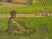 Whistler painted himself in this picture, with the current marquess as a boy on his bicyle