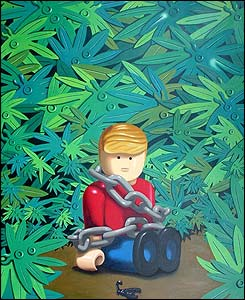 Colombia Land. Secuestrado. 2004. �leo sobre Lienzo. 130 x 160 cm.