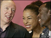 Director Terry George (l) with Hotel Rwanda stars Sophie Okonedo and Don Cheadle