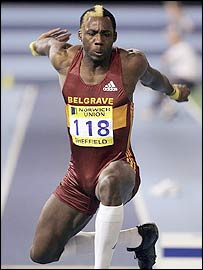Phillips Idowu in action in the triple jump at the European trials in Sheffield