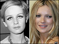 Twiggy in 1966 and Moss in 2005