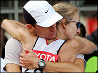 Paula Radcliffe and husband Gary Lough embrace