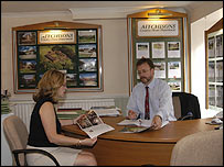 The interior of an estate agent's office