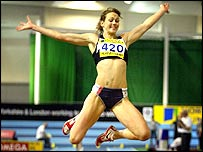 Kelly Sotherton at full stretch in the long jump