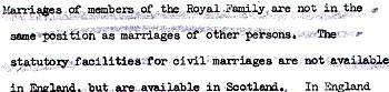 document stating that royals cannot marry by civil ceremony