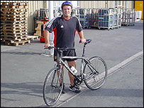 Dilwyn Daniel arrives at work after pedalling 18 miles