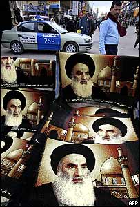 Carpets bearing Ayatollah Sistani's face on sale in Baghdad