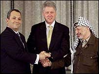 Bill Clinton, Yasser Arafat and Ehud Barak