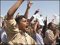 Iraqis demonstrating in Basra on Wednesday