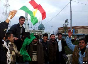 Iraqi Kurds celebrate in the northern city of Kirkuk.