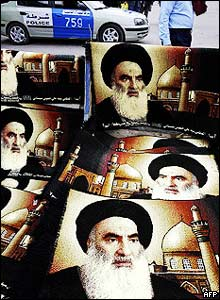 Carpets bearing the image of Muslim Shia cleric Grand Ayatollah Ali al-Sistani for sale in Baghdad, Iraq.
