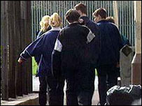 Pupils at gate