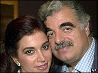 Rafik Hariri en una foto del año 2000 con su esposa Nazek