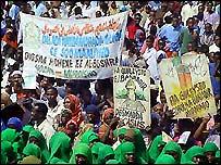 Somalis protesting in Mogadishu