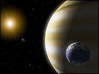 Artist's impression of extrasolar planetary system