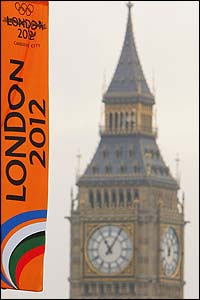 A London 2012 flag flies in front of Big Ben
