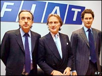 Fiat deputy chairman John Elkann, chairman Luca Cordero di Montezemolo, and chief executive Sergio Marchionne