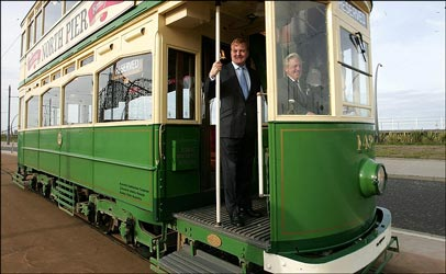 Charles Kennedy hitches a ride on one of Blackpool's famous trams