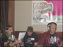 Image of podcaster Richard Vobes and crew at PodcastConUK