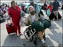 Residents of Galveston, Texas, evacuate the island ahead of Hurricane Rita