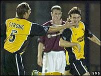 Ramon Pereira (right) celebrates putting Livingston ahead