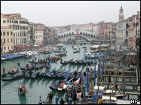 Gondoliers' protest blocking the Grand Canal in Venice