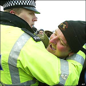 Policeman and hunt supporter