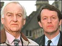 John Thaw as Inspector Morse and co-star Kevin Whateley as Sgt Lewis