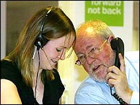 Charles Clarke at Labour's call centre