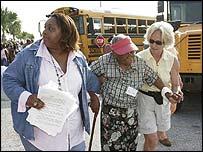 Galveston residents prepare to board evacuation bus